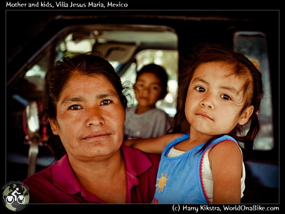 Mother and kids, Villa Jesus Maria, Mexico