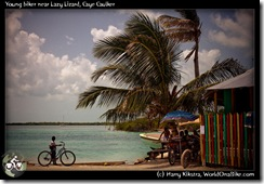 Young biker near Lazy Lizard, Caye Caulker
